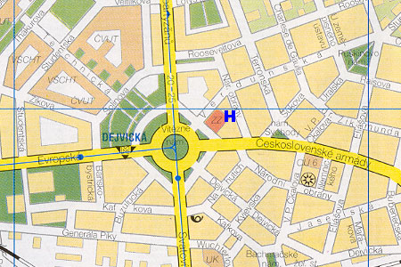 prague map with hotel Denisa location