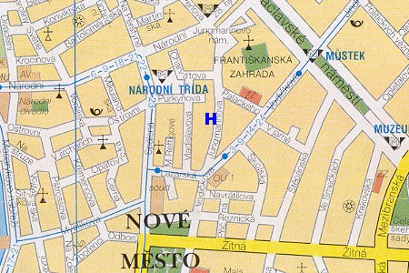 prague map with pension Husuv Dum location