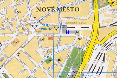 prague map with hotel City Inn location