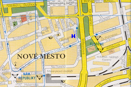 prague map with pension Unie location